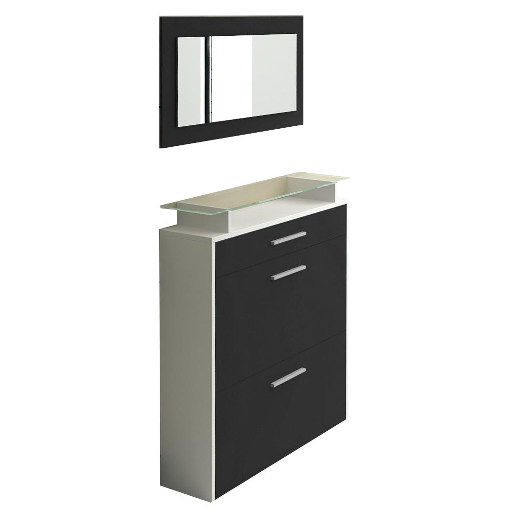 schuhschrank schwarz moderes design schuhkipper inkl glas und spiegel. Black Bedroom Furniture Sets. Home Design Ideas