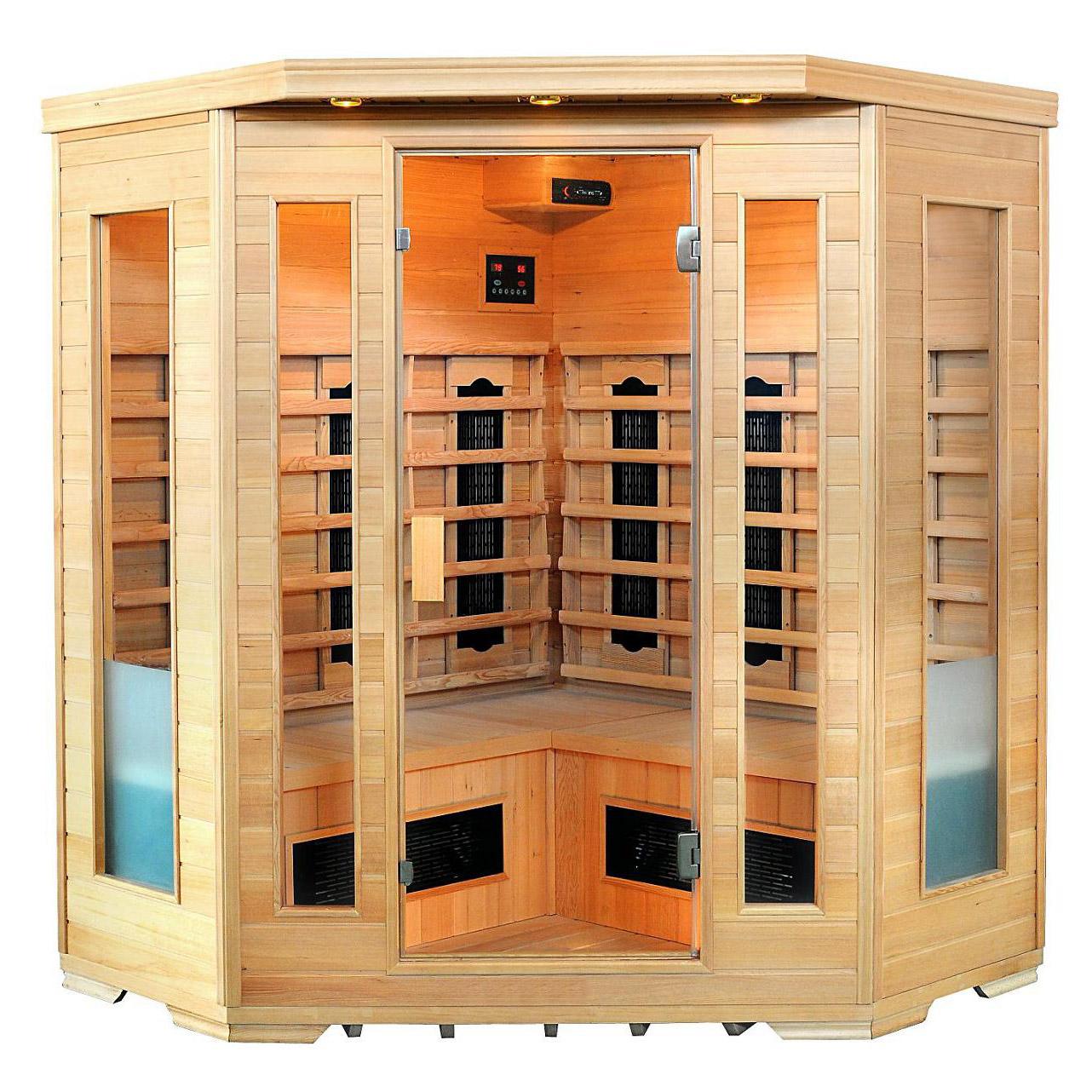 infrarot w rmekabine sauna spitzbergen hemlock ecksauna. Black Bedroom Furniture Sets. Home Design Ideas