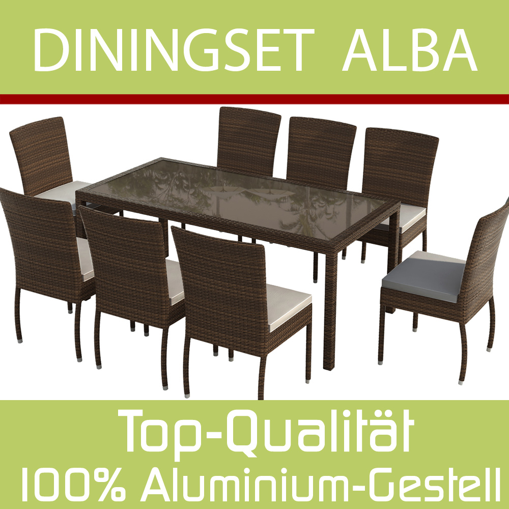 gartenm bel rattan gartenset sitzgruppe alba braun ebay. Black Bedroom Furniture Sets. Home Design Ideas