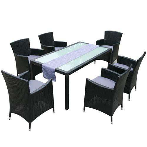 gartenm bel rattan gartenset sitzgruppe monaco schwarz aluminium rostfrei neu ebay. Black Bedroom Furniture Sets. Home Design Ideas