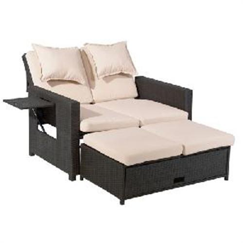 testrut multifunktions rattan sofa 3 in 1 bahia 118x75x85 cm 429102 ebay. Black Bedroom Furniture Sets. Home Design Ideas