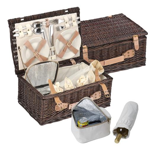 Picknickkoffer Picknickkorb aus Weidengeflecht Utensilien für 4 Personen