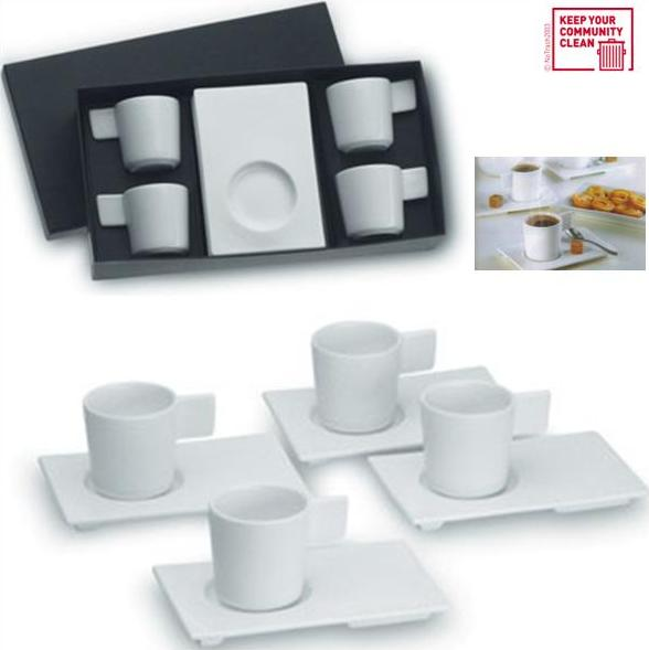 4 espressotassen aus keramik wei in geschenkbox design ebay. Black Bedroom Furniture Sets. Home Design Ideas