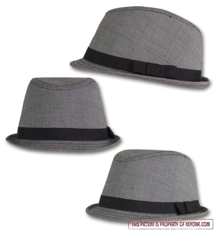 original key one trilby hat glencheck hut justin ebay. Black Bedroom Furniture Sets. Home Design Ideas