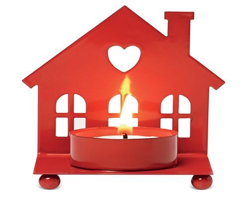 2er Set Teelichthalter Haus Kerzenhalter Rot Metall Weihnachten X-Mas