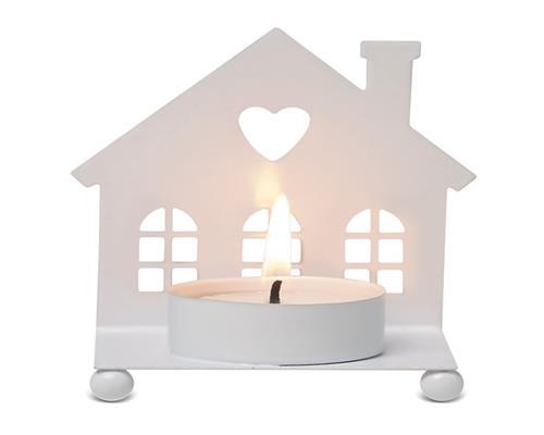 2er Set Teelichthalter Haus Kerzenhalter Weiß Metall Weihnachten X-Mas