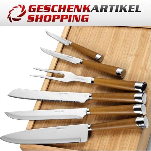 Küchenmesser-Set aus Bambus mit 6 Teilen in Holzbox