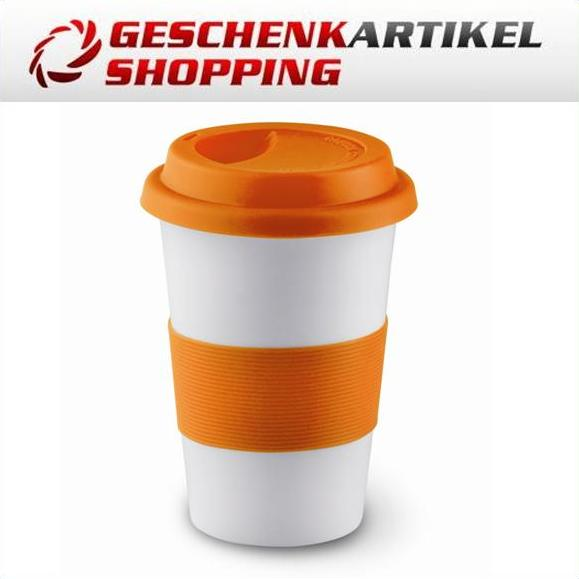 Keramik Kaffeebecher COFFEE TO Go m. Silikonring ORANGE