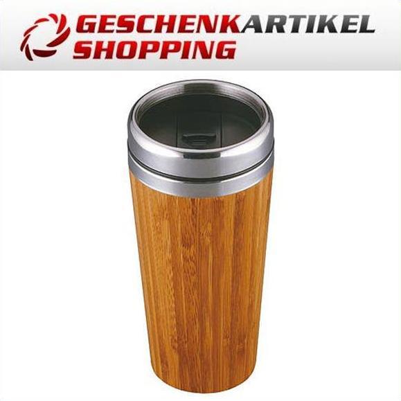 Isolier Becher aus Edelstahl und Bambus mit 420 mL Vol.