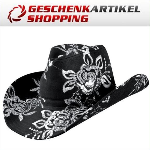 Cowboyhut mit Pailetten besetzt und bestickt in schwarz