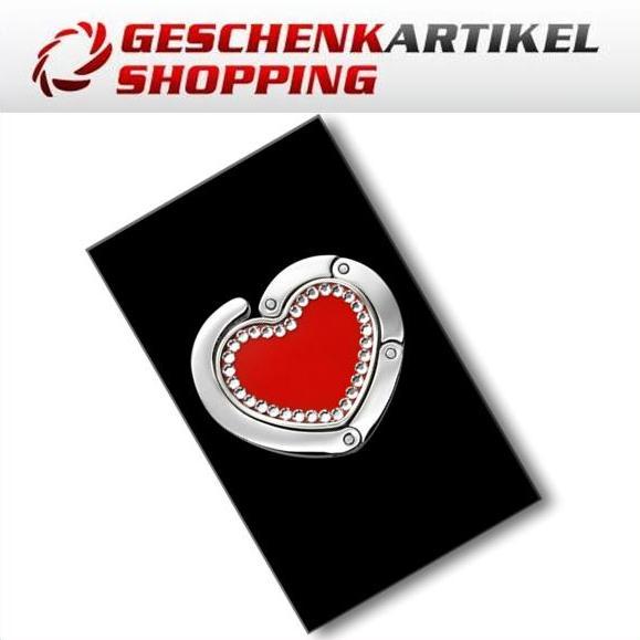 Handtaschenhalter mit Swarovski-Elements Herzfrom rot