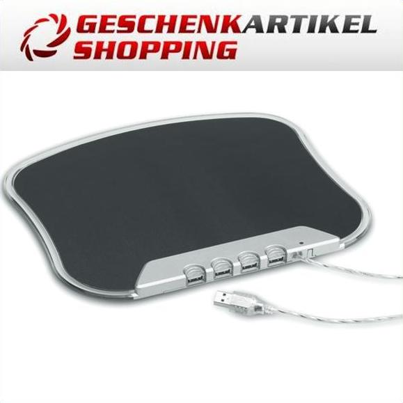 Beleuchtetes LED Mouse-Pad BOREAL mit 4-fach USB Hub