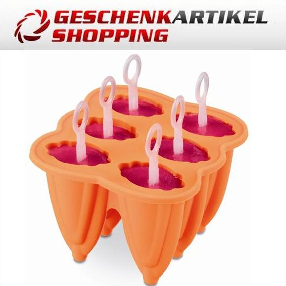 Eisform POP ICE mit 6 Eisförmchen, 2er Set orange+pink