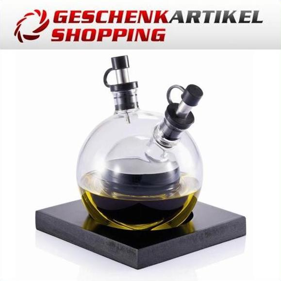 Essig- und Ölset aus mundgeblasenem Glas