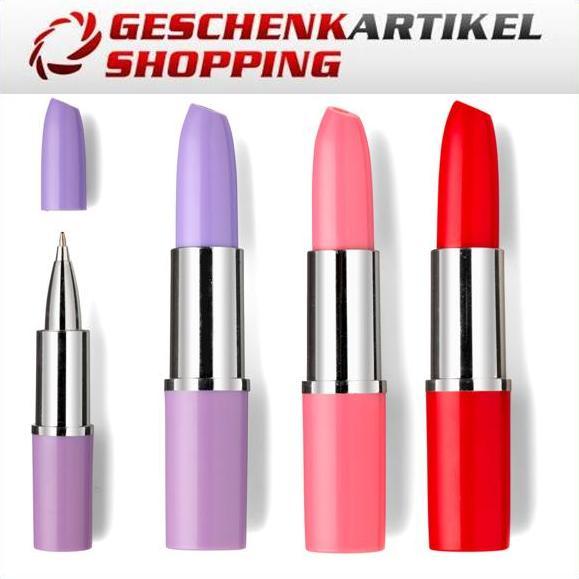 Stylischer Kugelschreiber im Lippenstiftdesign, violett