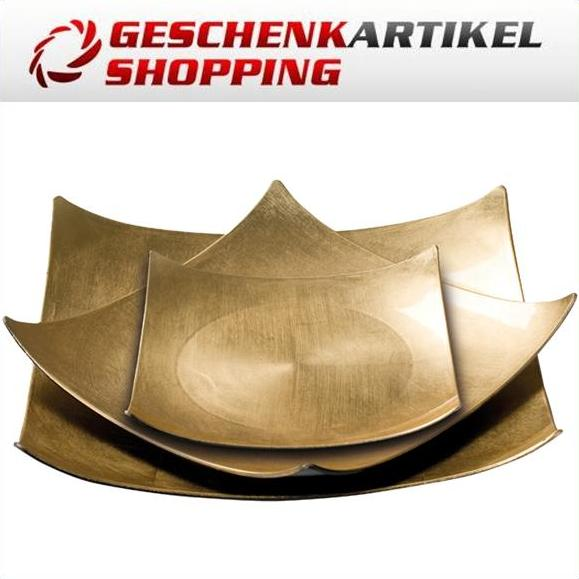 Goldfarbenes Schalen-Set in Antik Optik aus Kunststoff