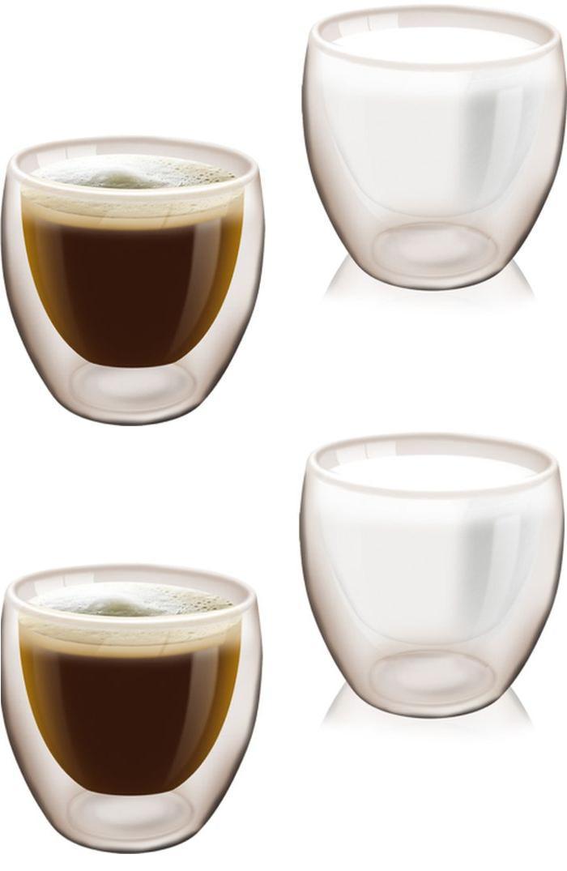 4er set doppelwandiges trinkglas 200 ml thermo glas kaffeetassen wasserglas. Black Bedroom Furniture Sets. Home Design Ideas