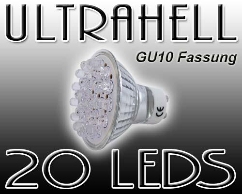 eaxus led strahler gu10 warmweiss 20 leds gu10 20 hac24. Black Bedroom Furniture Sets. Home Design Ideas