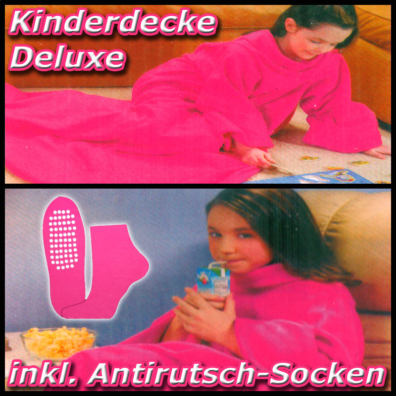 deluxe kinder kuscheldecke mit rmeln fleece wolldecke kinderdecke pink. Black Bedroom Furniture Sets. Home Design Ideas