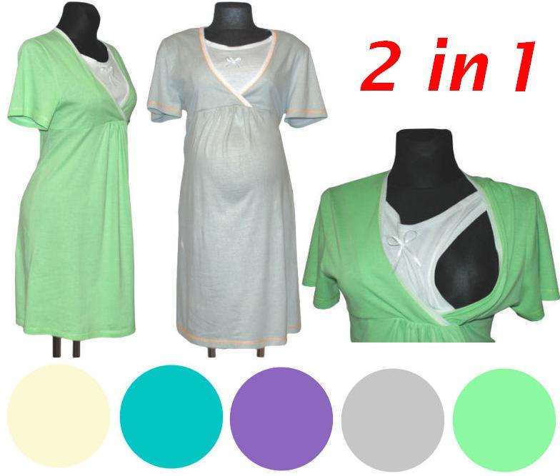 stillnachthemd nachthemd 2in1 schwangerschaft stillen 100 baumwolle ebay. Black Bedroom Furniture Sets. Home Design Ideas