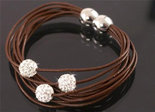 Neu-Shamballa-echt-Leder-Halskette-Armband-Silber-Ohrringe-Strass-Kugel-Schmuck