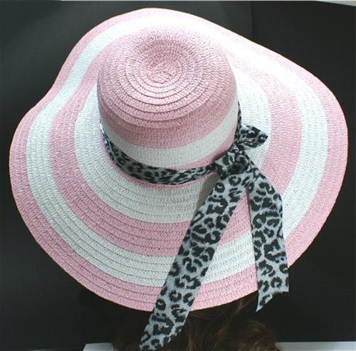 h218 neu damen sommerhut schlapphut rosa wei m leo band strand mode hut ebay. Black Bedroom Furniture Sets. Home Design Ideas