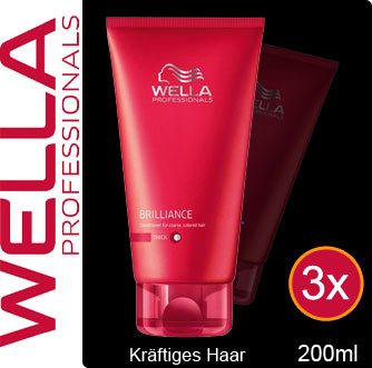 3x-Wella-Care-BRILLIANCE-CONDITIONER-thick-Spuelung-fuer-kraeftiges-Haar-200ml