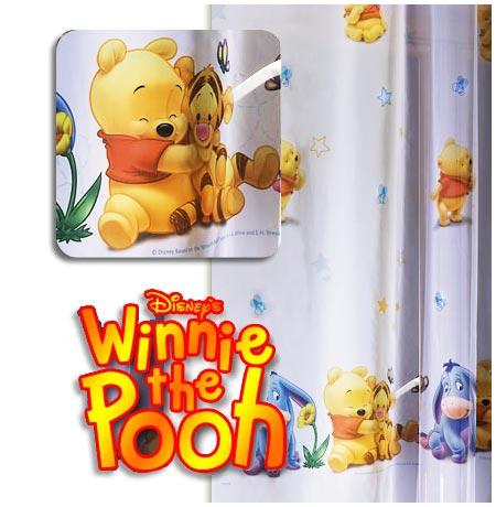 Winnie pooh meterware disney kinder gardine deko stoff transparent l 210 cm ebay - Winnie pooh deko ...