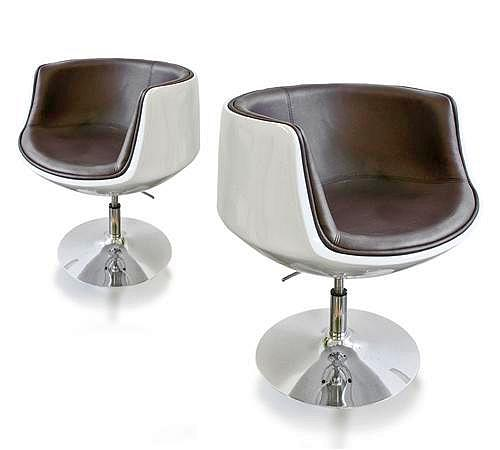 Lounge sessel braun  Exklusiver Design-Loungesessel-Club-Sessel - Drehsessel - weiss ...