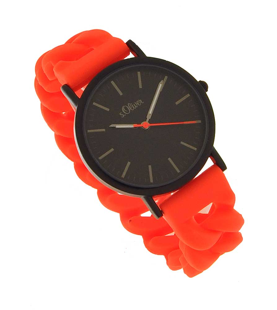 s.Oliver Damenuhr SO-3293-PQ Silikon orange NEON UVP:49,95€ NEU 10044