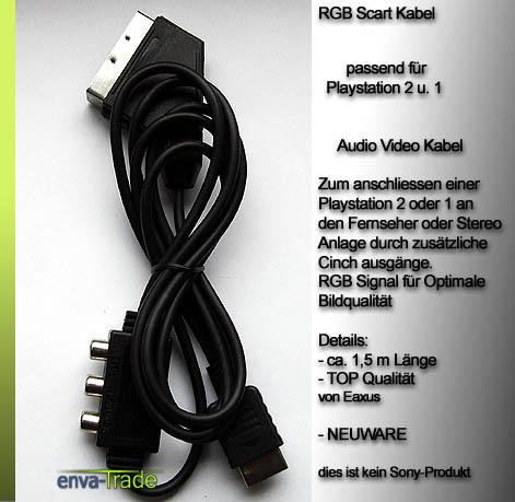 rgb scart kabel f playstation 3 2 tv cinch ps3 ps2 psx ebay. Black Bedroom Furniture Sets. Home Design Ideas