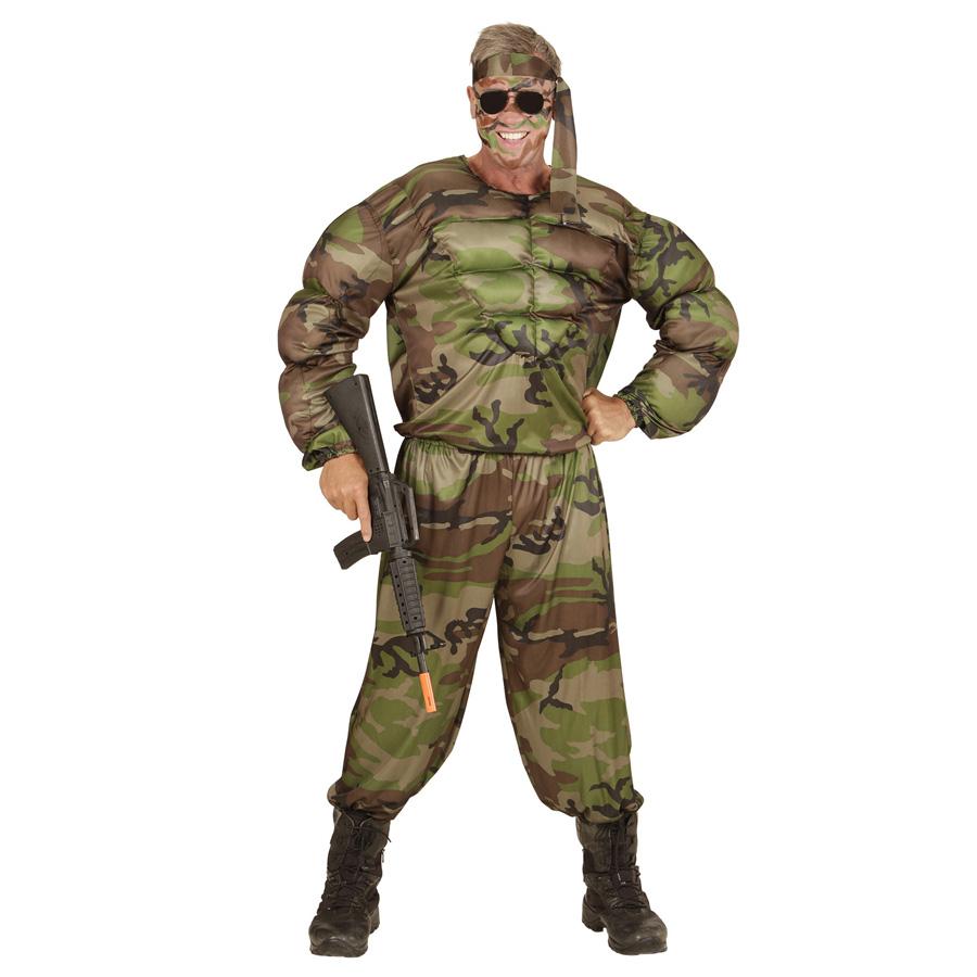 soldaten muskel kost m karneval herren m nner tarnanzug s ldner vietnam m 0051 ebay. Black Bedroom Furniture Sets. Home Design Ideas