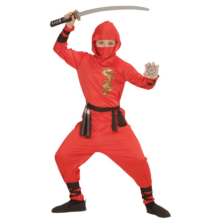 rotes kinder ninja kost m karneval fasching samurai jungen party 152 158 0133 ebay. Black Bedroom Furniture Sets. Home Design Ideas