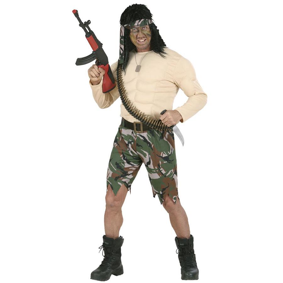 krieger m nner kost m karneval dschungel soldaten s ldner muskel filmheld m 7349. Black Bedroom Furniture Sets. Home Design Ideas
