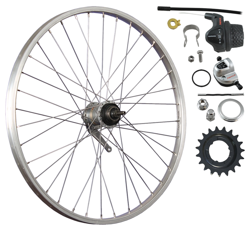 26-inch rear bike wheel alloy with 3-speed back pedal - silver