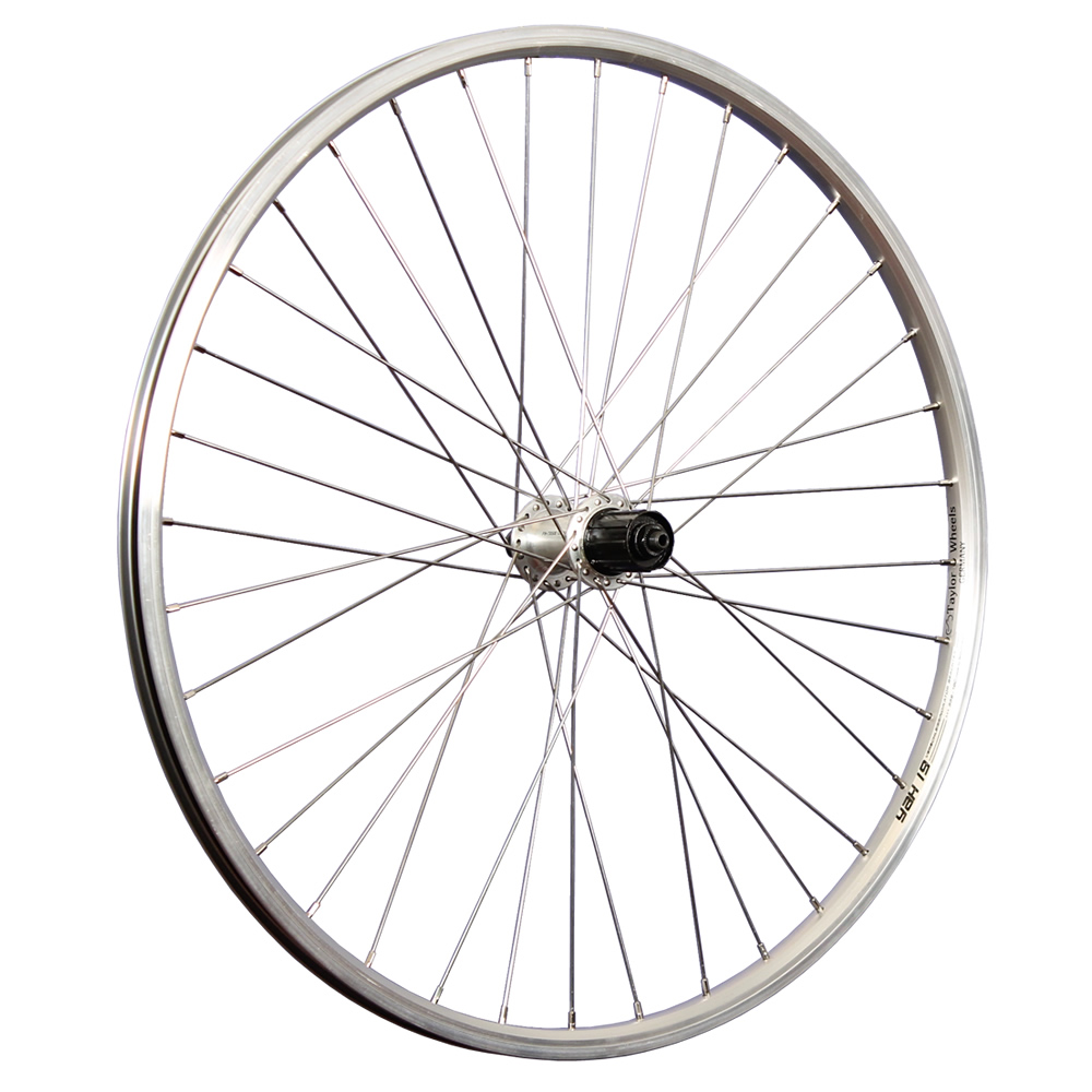 Taylor-Wheels-26inch-bike-rear-wheel-double-wall-rim-Shimano-Acera-hub-silver