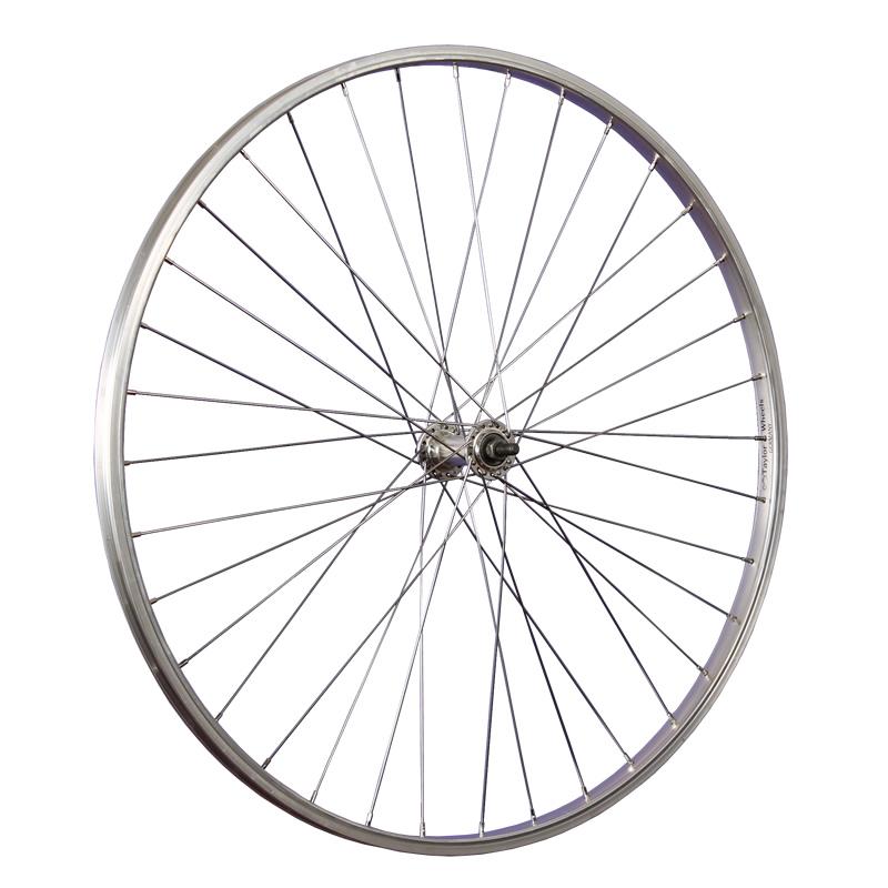 Laufrad-28-Zoll-Fahrrad-Vorderrad-Alu-Vollachse-silber-vorn-Trekking-City-Tour