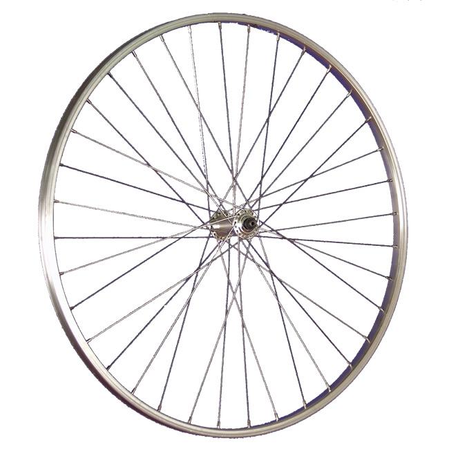 28-Zoll-Fahrrad-Vorderrad-Laufrad-Shimano-Alivio-Felge-Aluminium-vorn-silber
