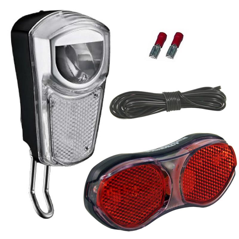 fahrrad led lichtset 35 lux frontlicht r cklicht scheinwerfer f r nabendynamo ebay. Black Bedroom Furniture Sets. Home Design Ideas