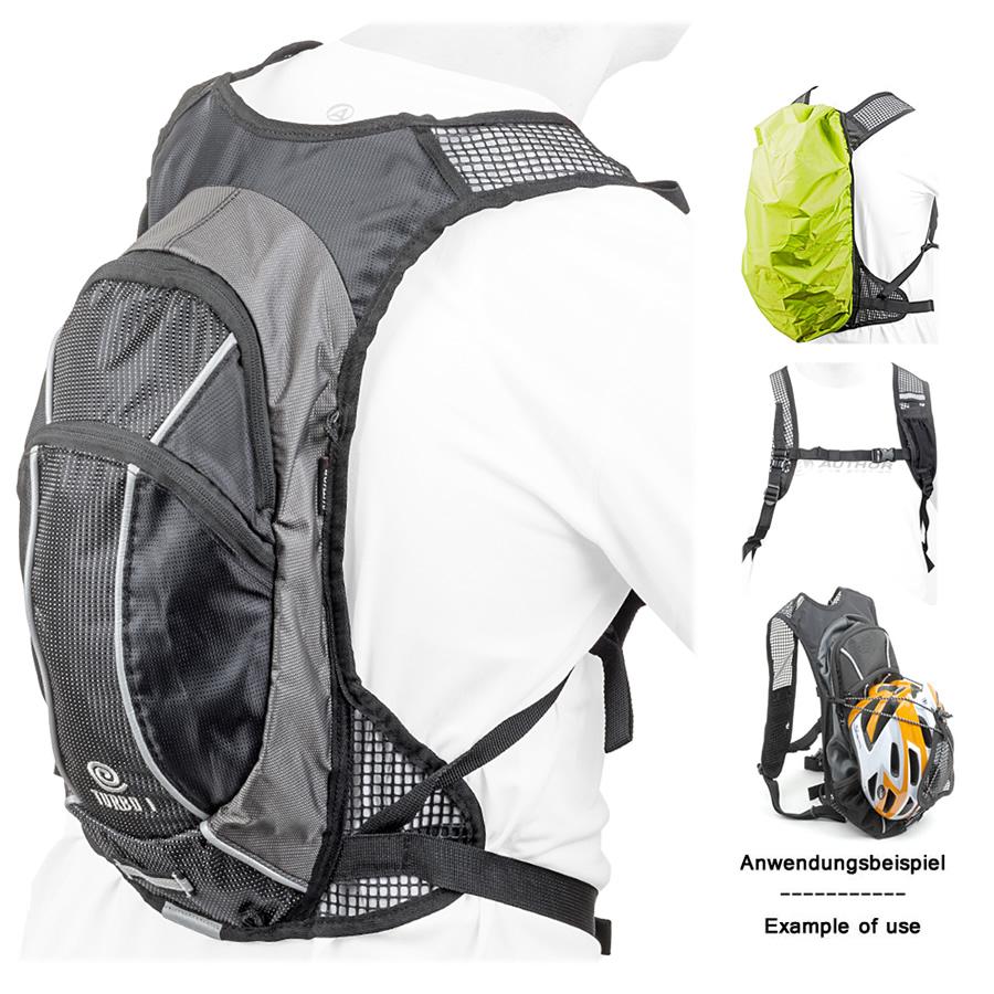 author fahrrad rucksack turbo gsb 6 mit regenh lle gepolstert schwarz reflex ebay. Black Bedroom Furniture Sets. Home Design Ideas