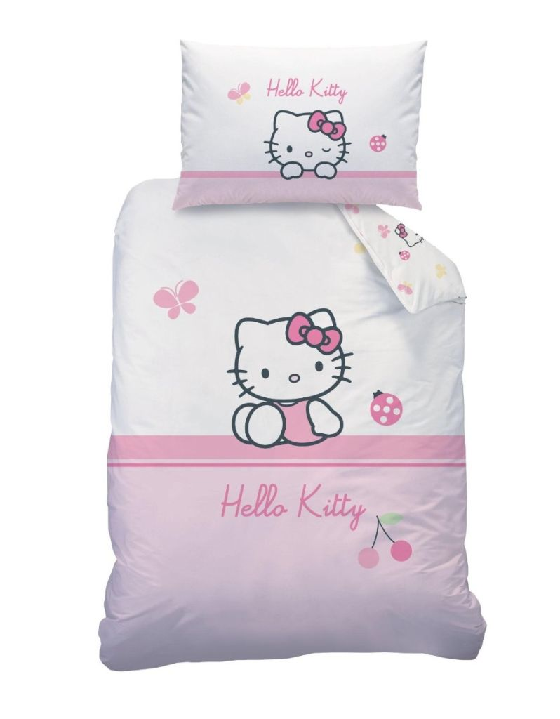 hello kitty 041063 baby bettw sche coccinelle baumwolle linon 100x135 40x60 cm ebay. Black Bedroom Furniture Sets. Home Design Ideas