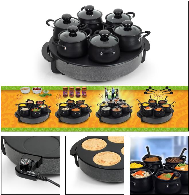asia wok set mit 6 wok t fpchen elekto wok tischgrill asia raclette ebay. Black Bedroom Furniture Sets. Home Design Ideas
