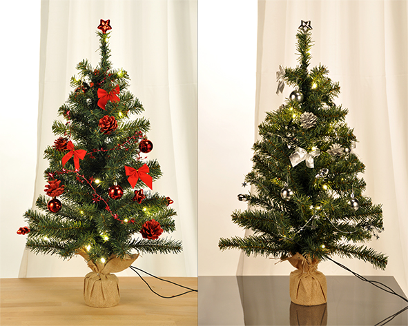 geschm ckter weihnachtsbaum 75cm mit 20 led s tannenbaum rot silber christbaum ebay. Black Bedroom Furniture Sets. Home Design Ideas