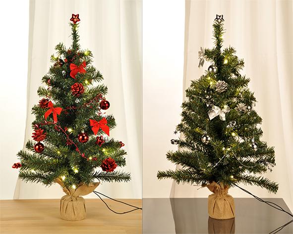 Geschm ckter weihnachtsbaum 75cm mit 20 led s tannenbaum rot silber christbaum ebay - Dekorierter weihnachtsbaum ...