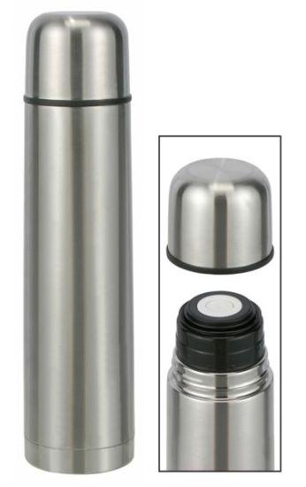edelstahl isolierflasche 1 liter thermoskanne thermokanne klickverschluss 1 ebay. Black Bedroom Furniture Sets. Home Design Ideas