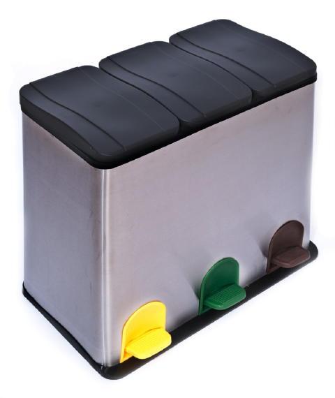 60 liter edelstahl m lleimer trenn abfalleimer k60 ebay. Black Bedroom Furniture Sets. Home Design Ideas
