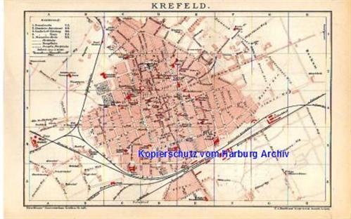 Edinburgh Stadtplan Lithographie 1894 alte historische Stadtkarte