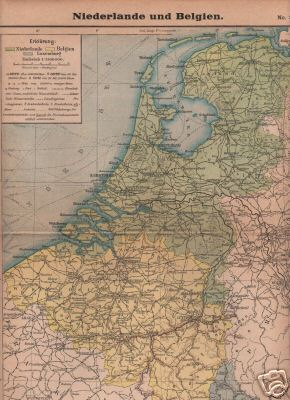 old original of 1901: Map of Netherlands and Belgium