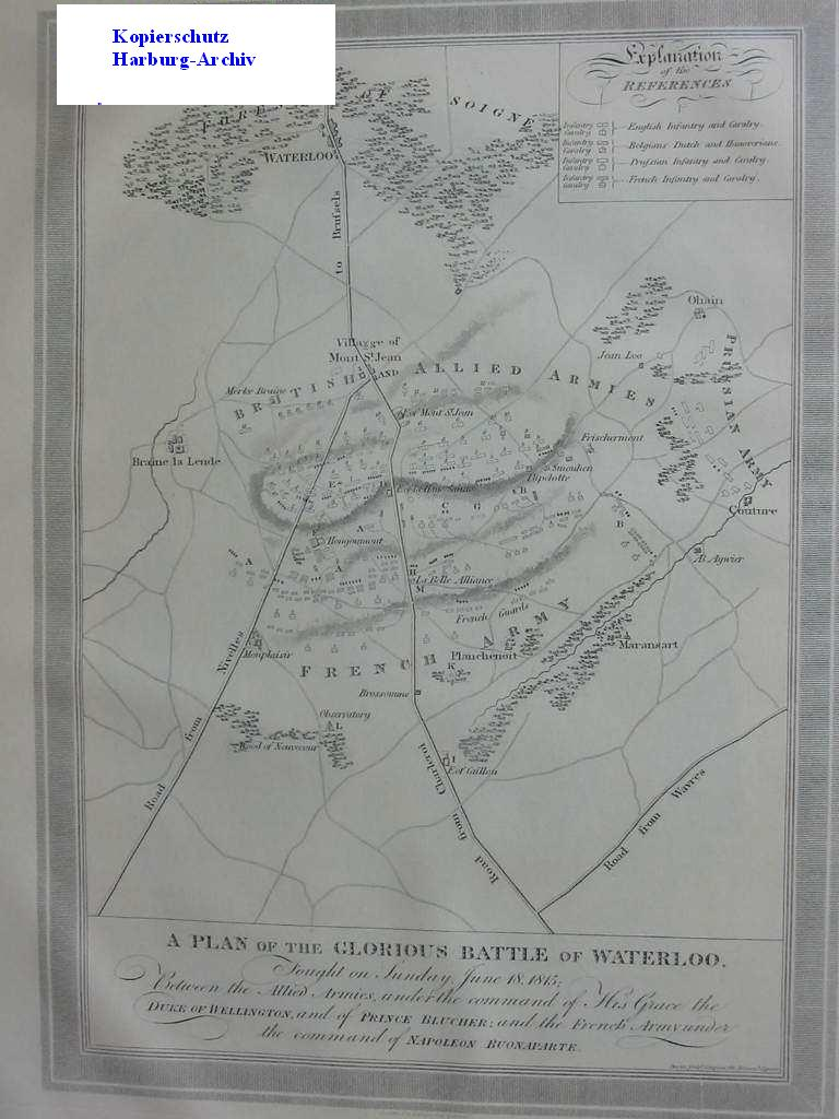 Orig.-Kupferkarte aus ca 1820: Battle of Waterloo