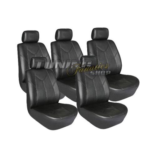 5x garniture pour si ges auto cuir simili premium housses de si ge ebay. Black Bedroom Furniture Sets. Home Design Ideas